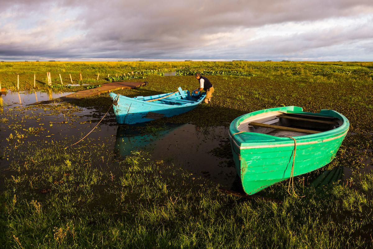 Boat at Estancia San Juan de Poriahu, Ibera Wetlands, a marshland in Corrientes Province, Argentina